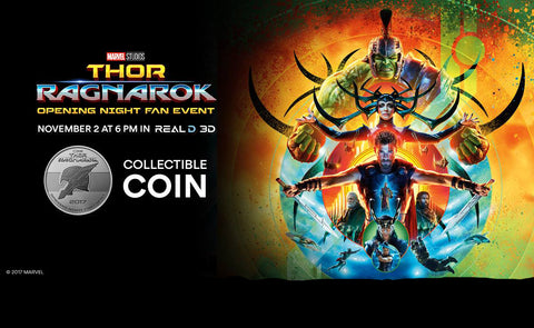 "Thor Ragnarok (Film) – Opening Night Fan Event ""Gladiator Thor / Gladiator Hulk"" Collectible Coin"