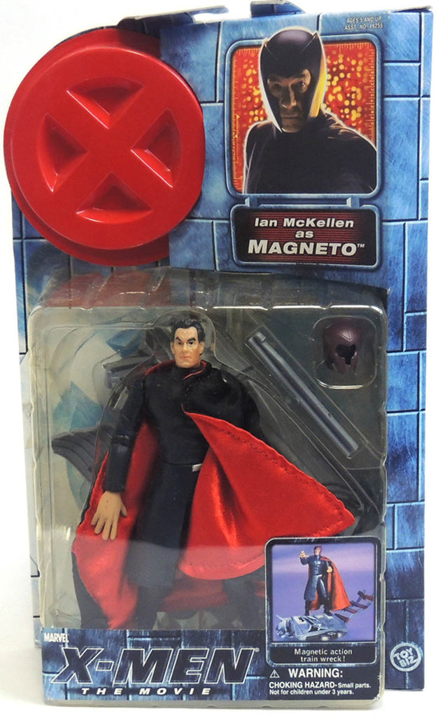 "X-Men: The Movie (Film) – Series 1 – Ian McKellen as Magneto (Variant Black Hair Verison) 6"" Figure with Magnetic Attack Train Wreck"