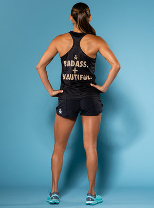 Betty Designs Badass + Beautiful Womens Racerback Run Tank