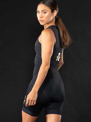 Luxe Black Sleeveless Trisuit