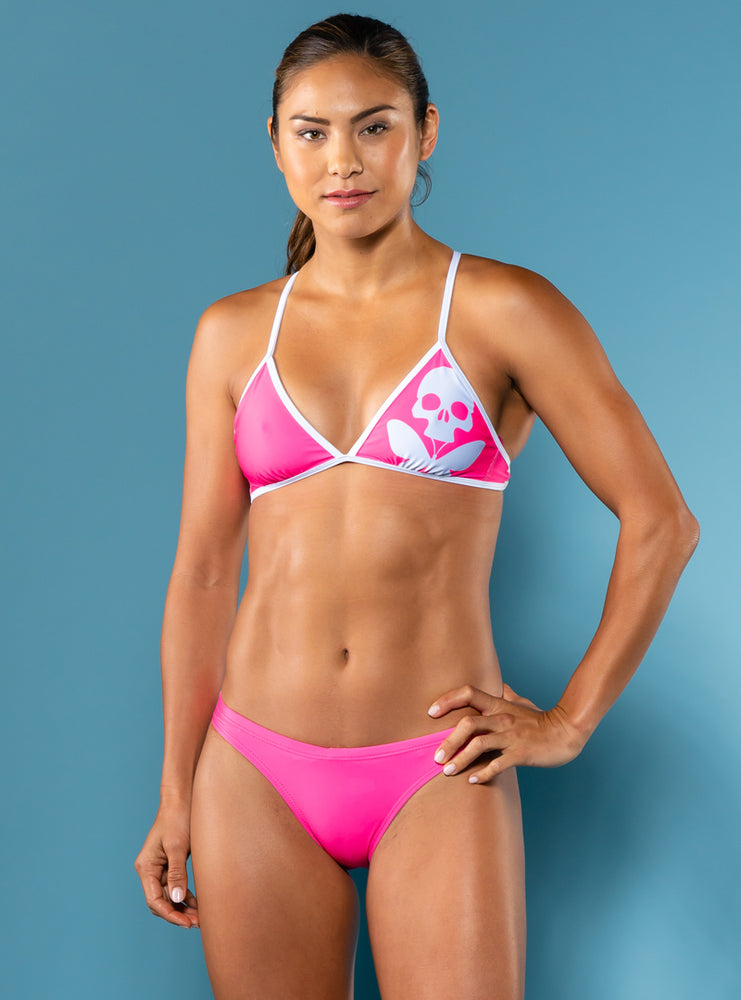 Pink Betty Crossback Triangle Bikini Top