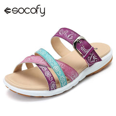 Socofy Genuine Leather Slippers Women Shoes Adjustable Buckle Mixed Color Vintage Printed Summer Shoes Beach Slippers Slides New
