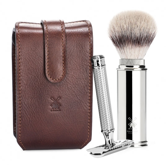 TRAVEL - Travel shaving set from MÜHLE, Silvertip Fibre®, with safety razor, handle material metal, chrome-plated