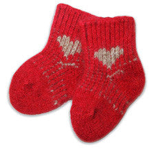 Possum/Merino Baby Socks Newborn Red