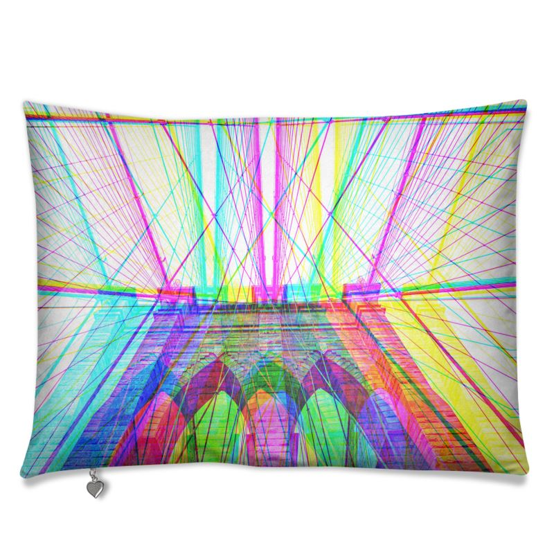 nyc Brooklyn bridge luxurious velvet sofa cushion pillow