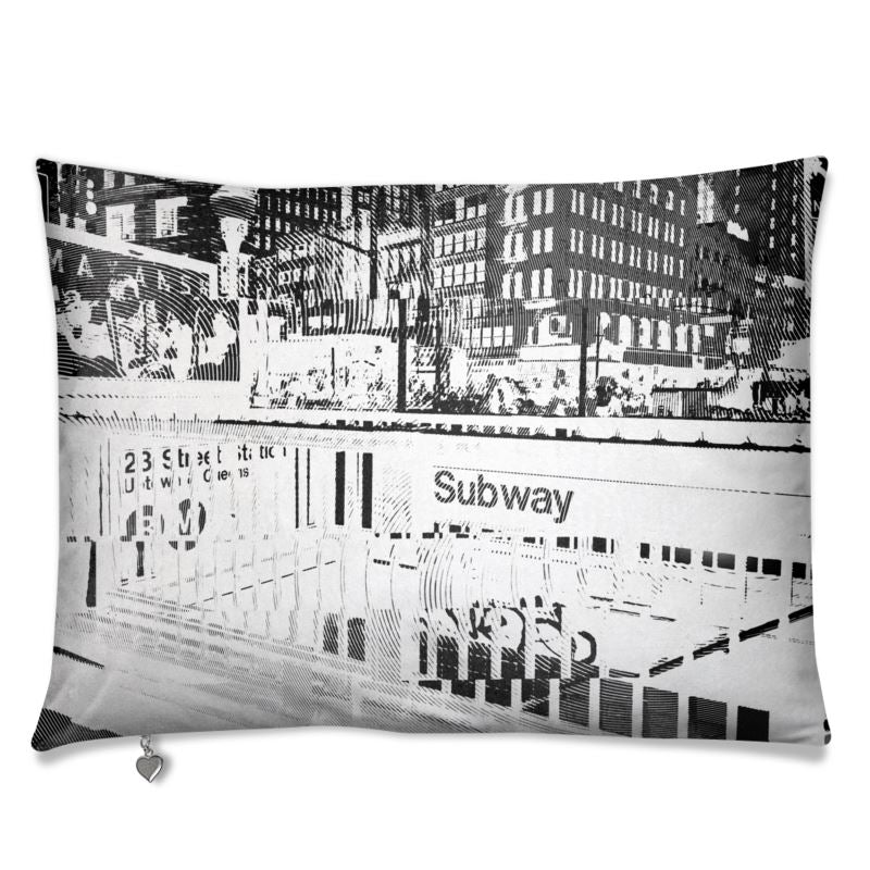 nyc Manhattan subway station luxurious velvet sofa cushion pillow