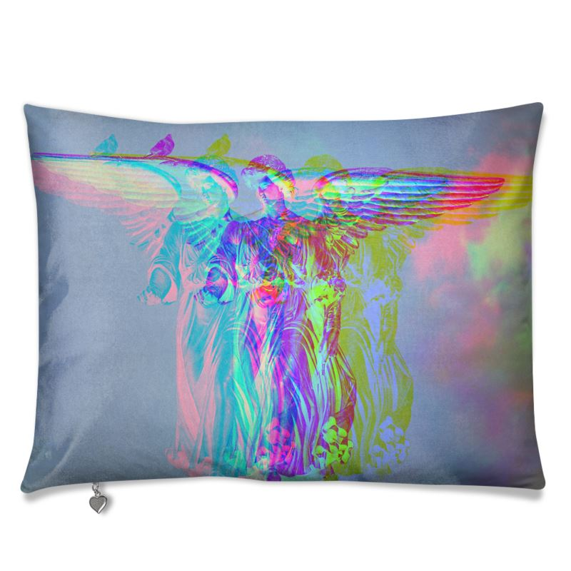 nyc central park fountain angel luxurious velvet sofa cushion pillow