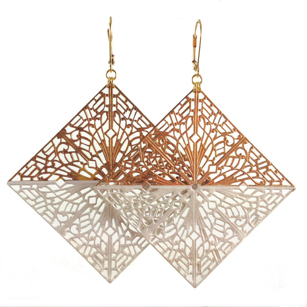 MizDragonfly Jewelry White Diamond Filigree Earrings Vogue Italia