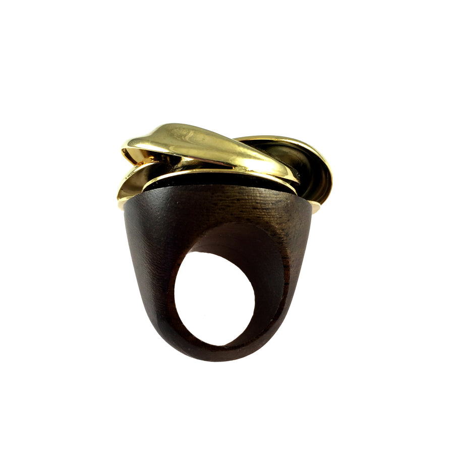 Vintage Hendrix Gold Twist Wood Ring Back