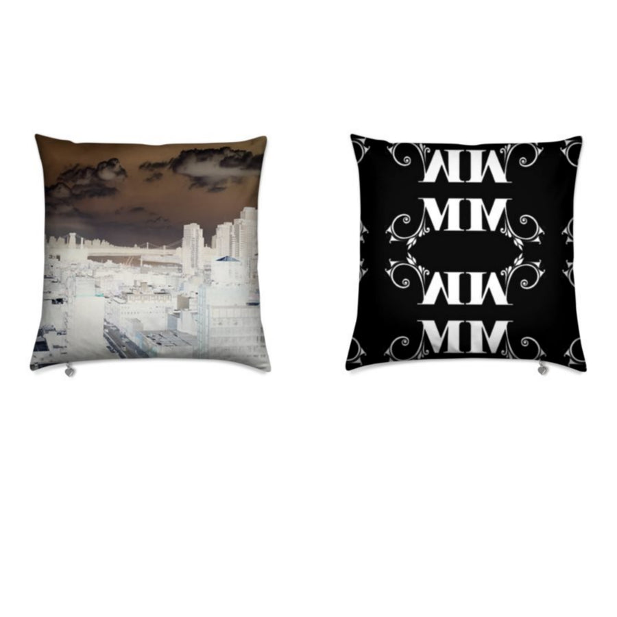 MizDragonfly Decorative Velvet Pillow Cushion Skyline Front Back