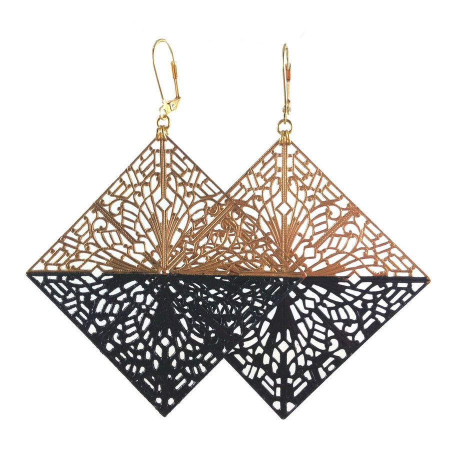 MizDragonfly Diamond Filigree Earrings Black Gallery