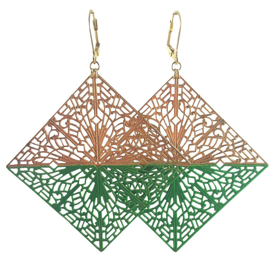 MizDragonfly Diamond Filigree Earrings Green Gallery