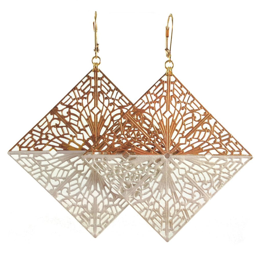 MizDragonfly Diamond Filigree Earrings White Gallery