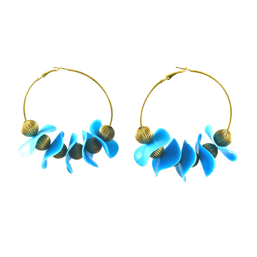 Vintage Saturn Geometric Gold Hoop Earrings