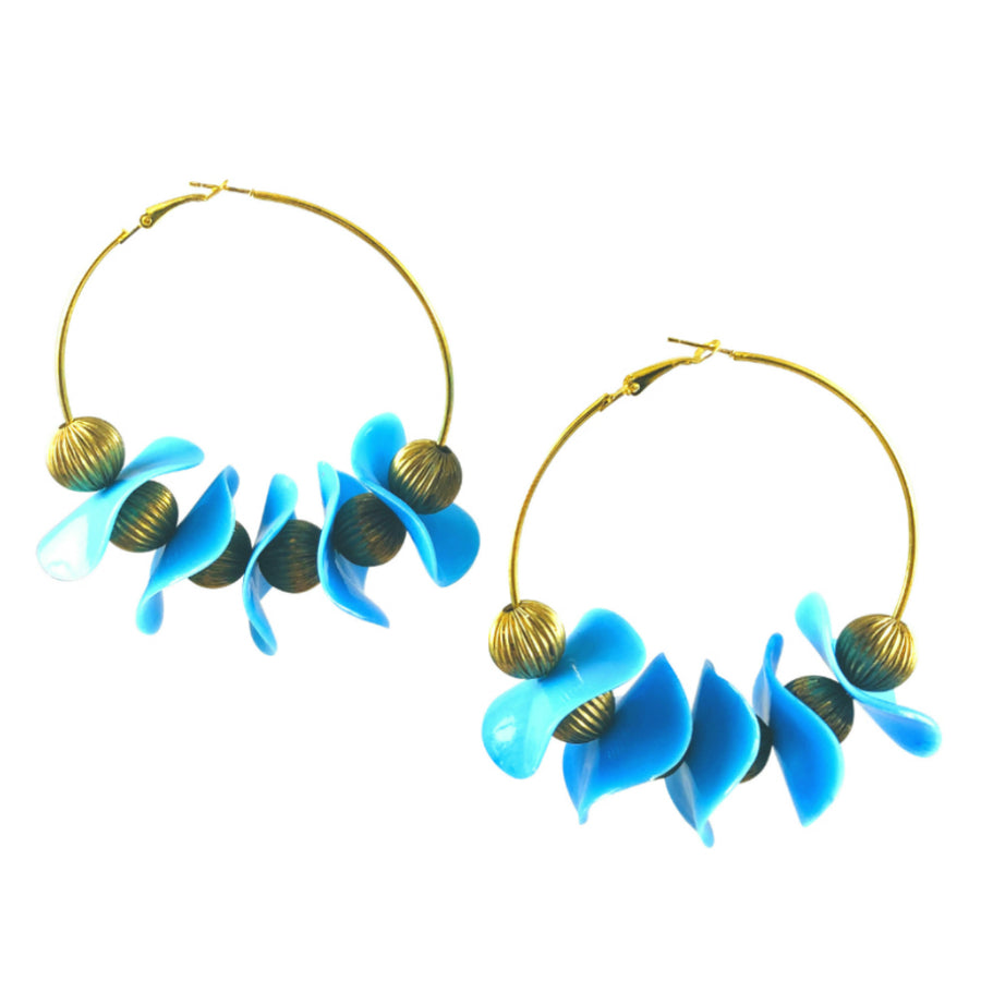 MizDragonfly Jewelery Vintage Wavy Disk Saturn Gold Hoop Earrings Gallery
