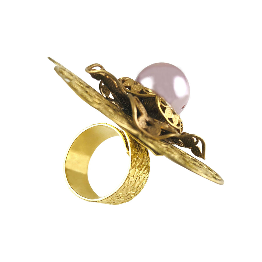 Aurin Pearl Floral Gold Adjustable Ring