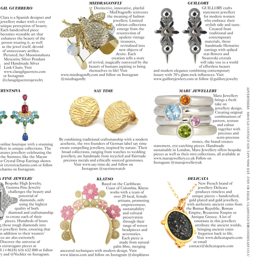 Just Bee Rhinestone Vintage Frosty Dome Cuff Bracelet - As seen in British Vogue June 2020
