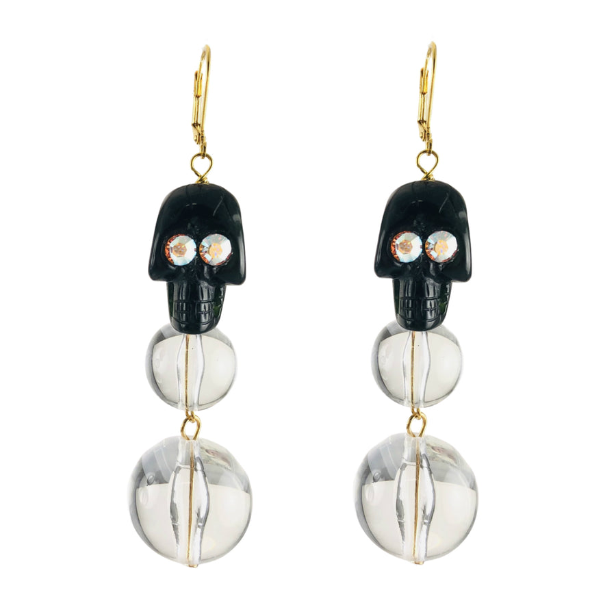MizDragonfly Jewelry Black Onyx Skull Earrings White Eyes