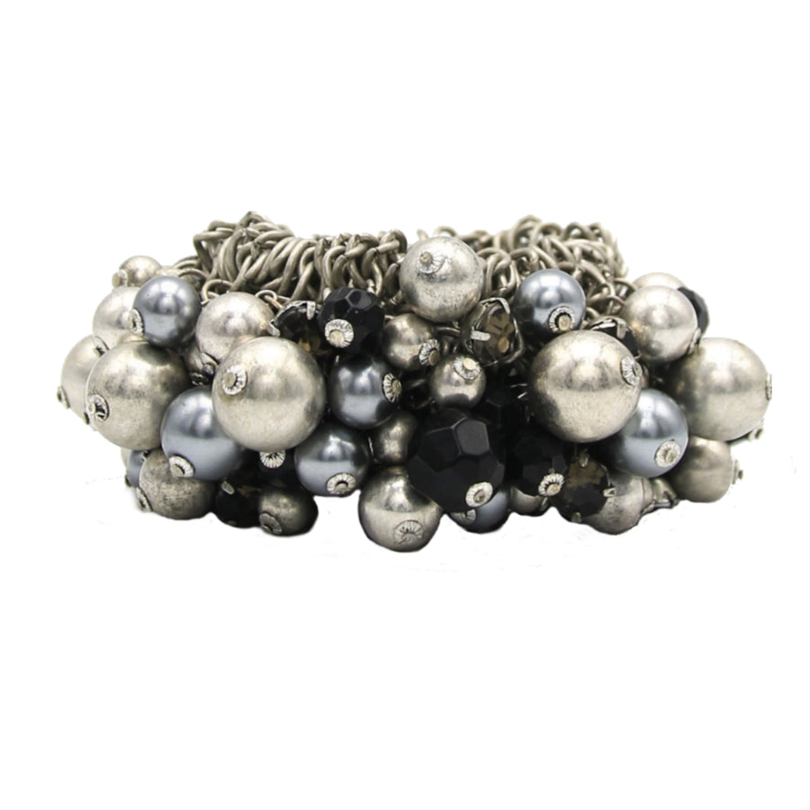 Sorgente White Black and Silver Pearl Cluster Stretch Bracelet