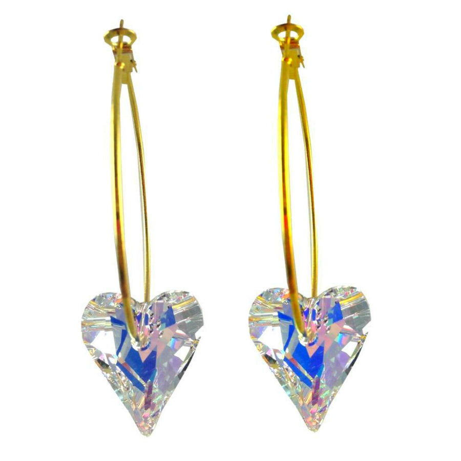 MizDragonfly Jewelry Swarovski Crystal Heart Earrings Gallery Clear