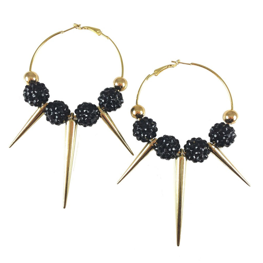 MizDragonfly Jewelry Farrah Gold Spike Earrings Black Gallery
