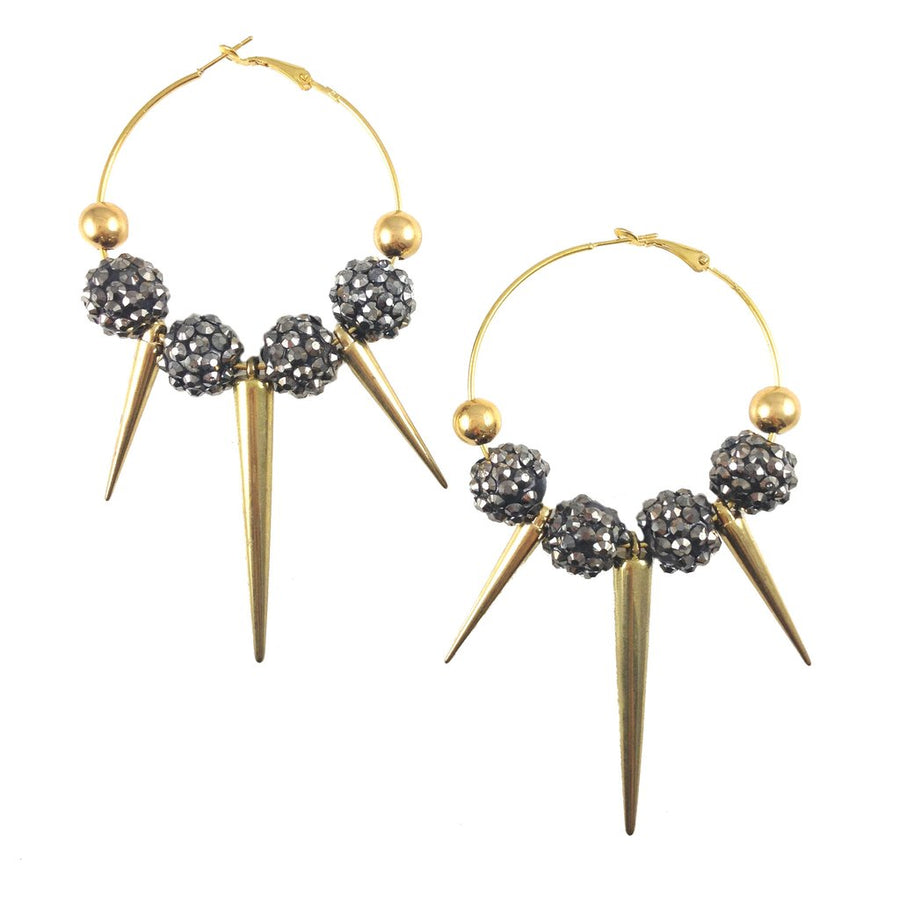MizDragonfly Jewelry Farrah Gold Spike Earrings Grey Gallery