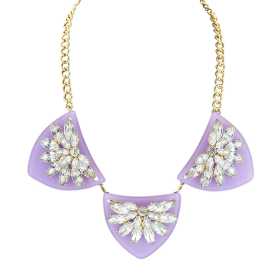 MizDragonfly Jewelry Geometric Purple Crystal Statement Necklace Purpura Gallery