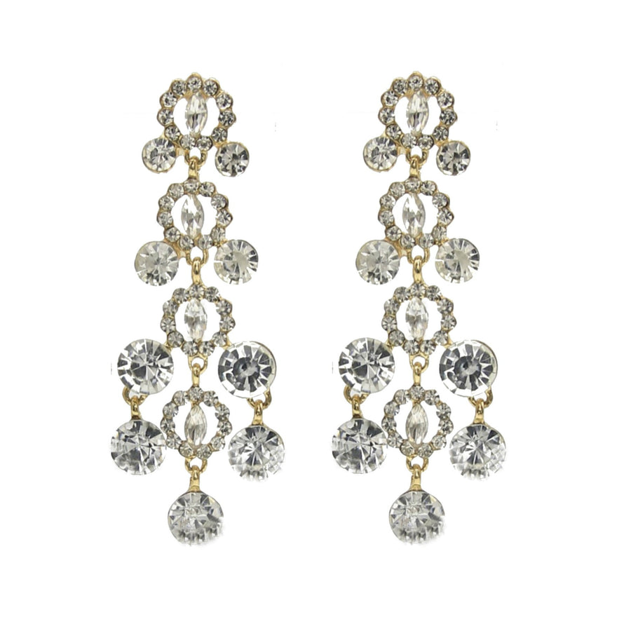 Glacier Crystal Statement Chandelier Gold Stud Earrings - Clear