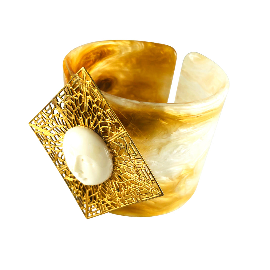 Galarno Full Moon Gold Diamond Filigree Caramel Lucite Cuff Bracelet