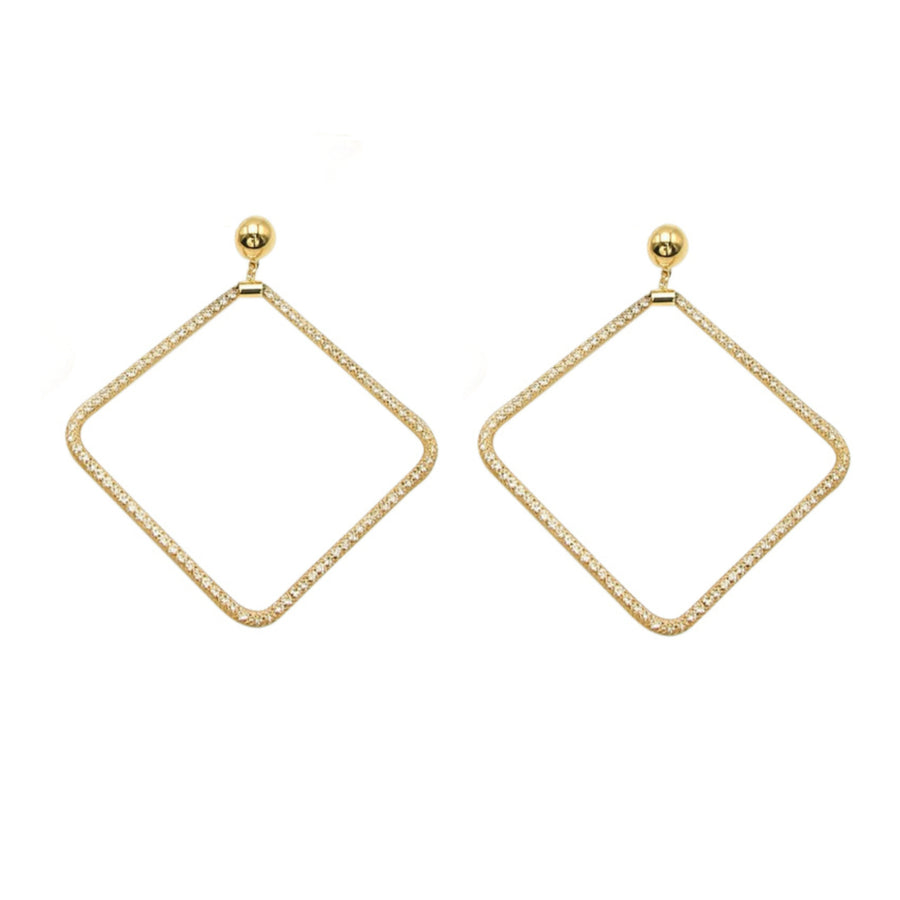 Lucent Gold Mesh Crystal Statement Stud Earrings - Diamond