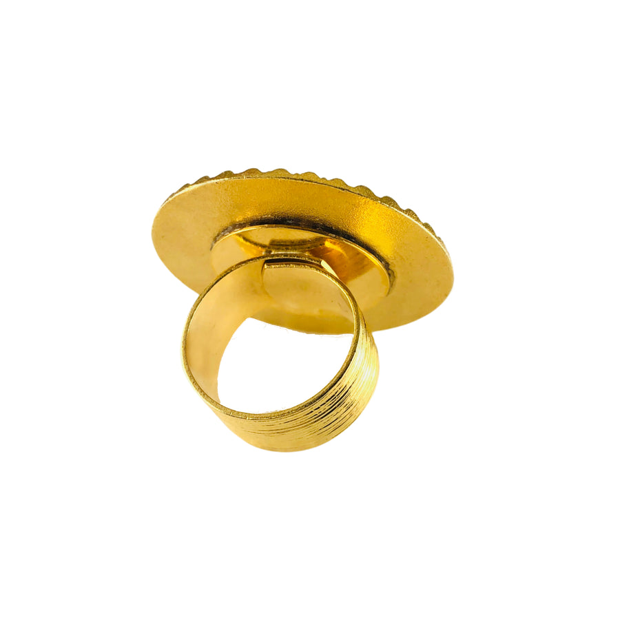Circlet Gold Disk Adjustable Ring - Solar