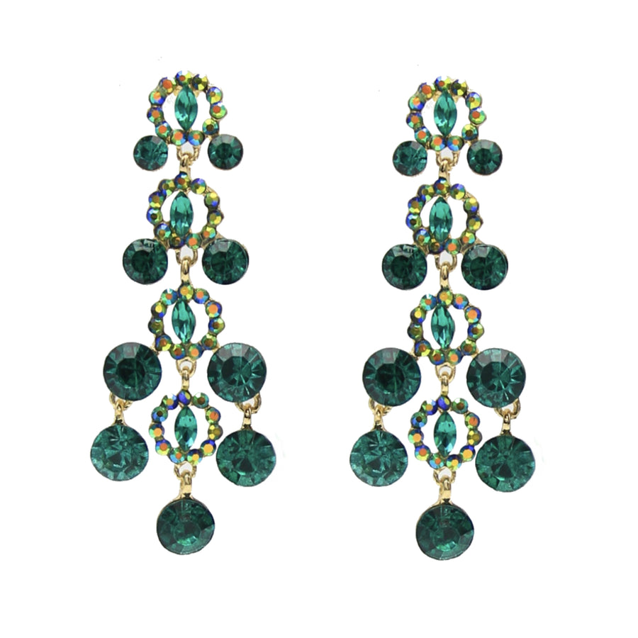 Glacier Crystal Statement Chandelier Gold Stud Earrings - Green