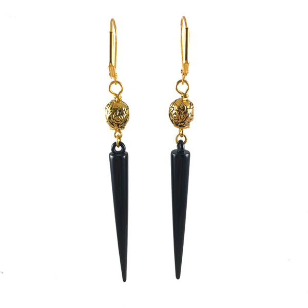 Gold Skulls & Black Spikes Earrings Front