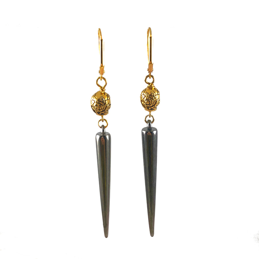 Gold Skulls & Gun Metal Spikes Earrings Back