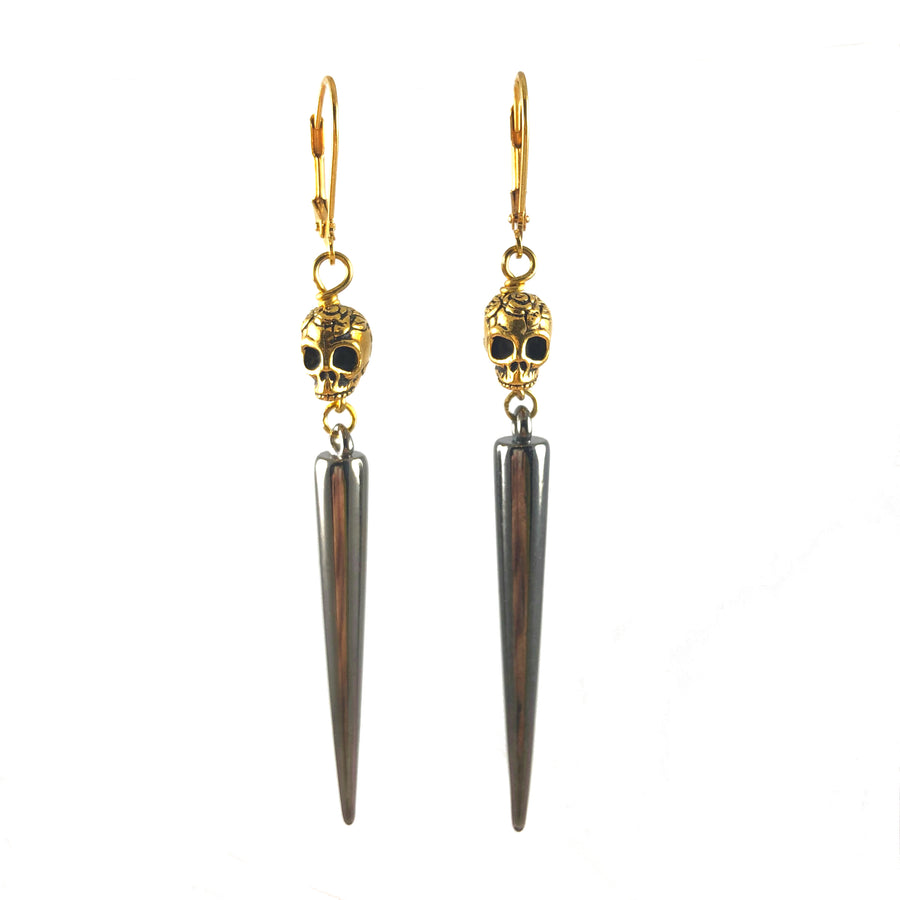 Gold Skulls & Gun Metal Spikes Earrings Front