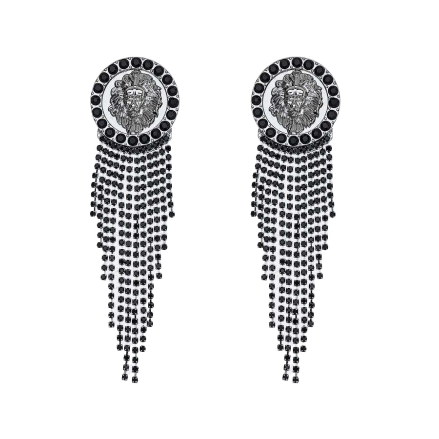 Griffin Black and Silver Rhinestone Stud Dangle Earrings