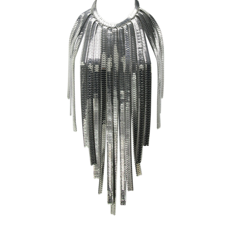 MizDragonfly Jewelry Industrial Metal Fringe Statement Necklace Body Chain Silver