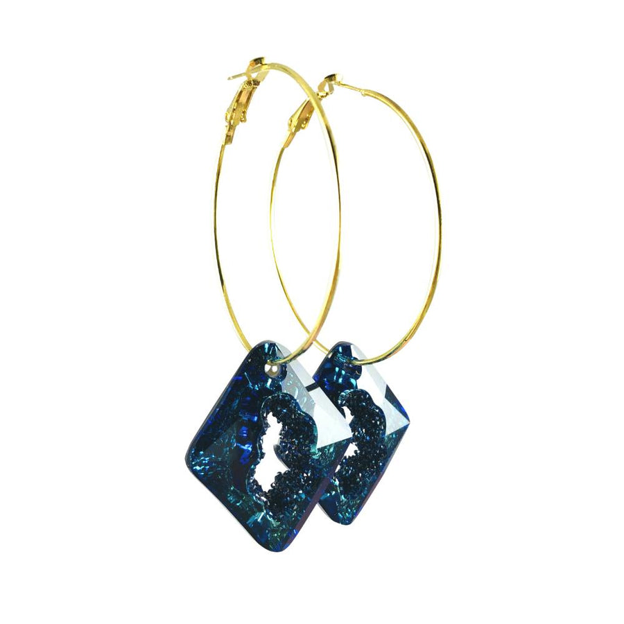 MizDragonfly Jewelry Iris Druzy Blue Crystal Gold Diamond Hoops Earrings Angle