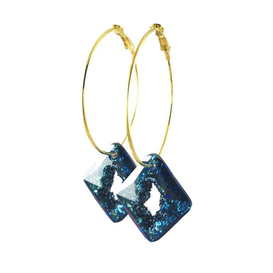 MizDragonfly Jewelry Iris Druzy Blue Crystal Gold Diamond Hoops Earrings Side