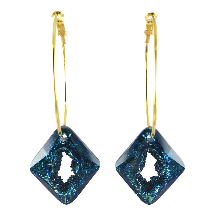 MizDragonfly Jewelry Iris Druzy Blue Crystal Gold Diamond Hoops Earrings Gallery