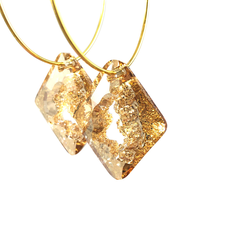 MizDragonfly Jewelry Iris Druzy Champagne Swarovski Crystal Gold Diamond Hoops Earrings Angle
