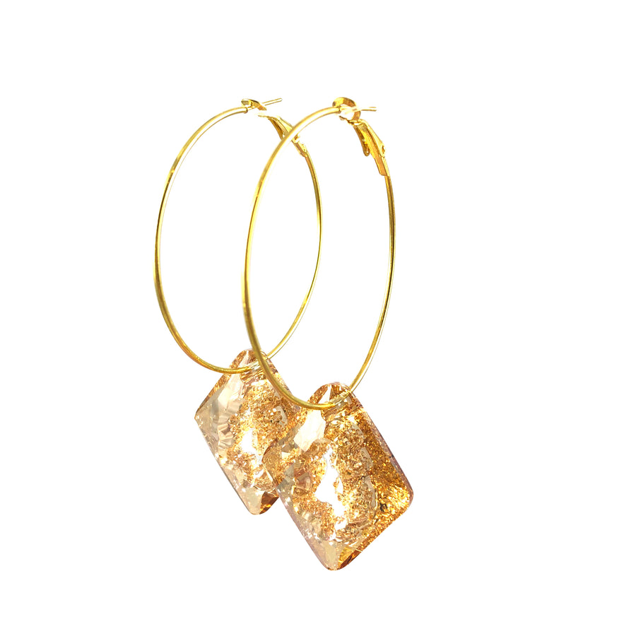 MizDragonfly Jewelry Iris Druzy Champagne Swarovski Crystal Gold Diamond Hoops Earrings Left