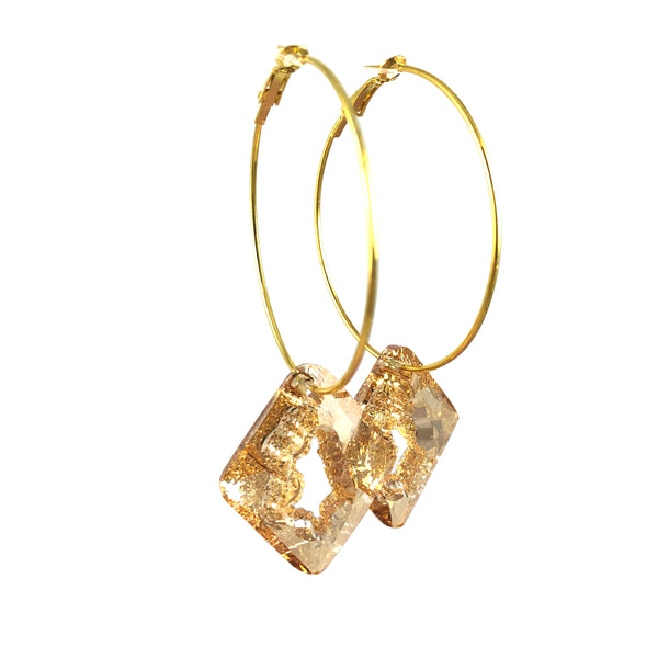 MizDragonfly Jewelry Iris Druzy Champagne Swarovski Crystal Gold Diamond Hoops Earrings Front
