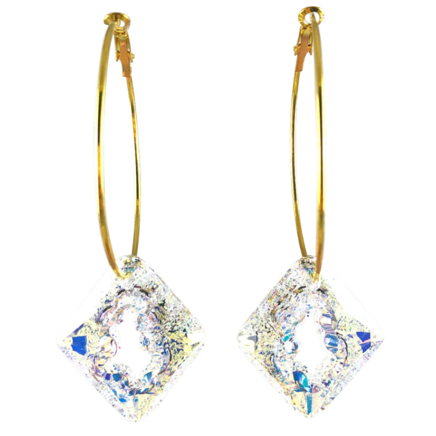 MizDragonfly Jewelry Iris Druzy Clear Crystal Gold Diamond Hoops Earrings