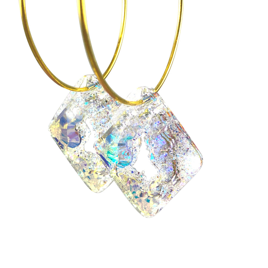 MizDragonfly Jewelry Iris Druzy Clear Swarovski Crystal Gold Diamond Hoops Earrings Angle