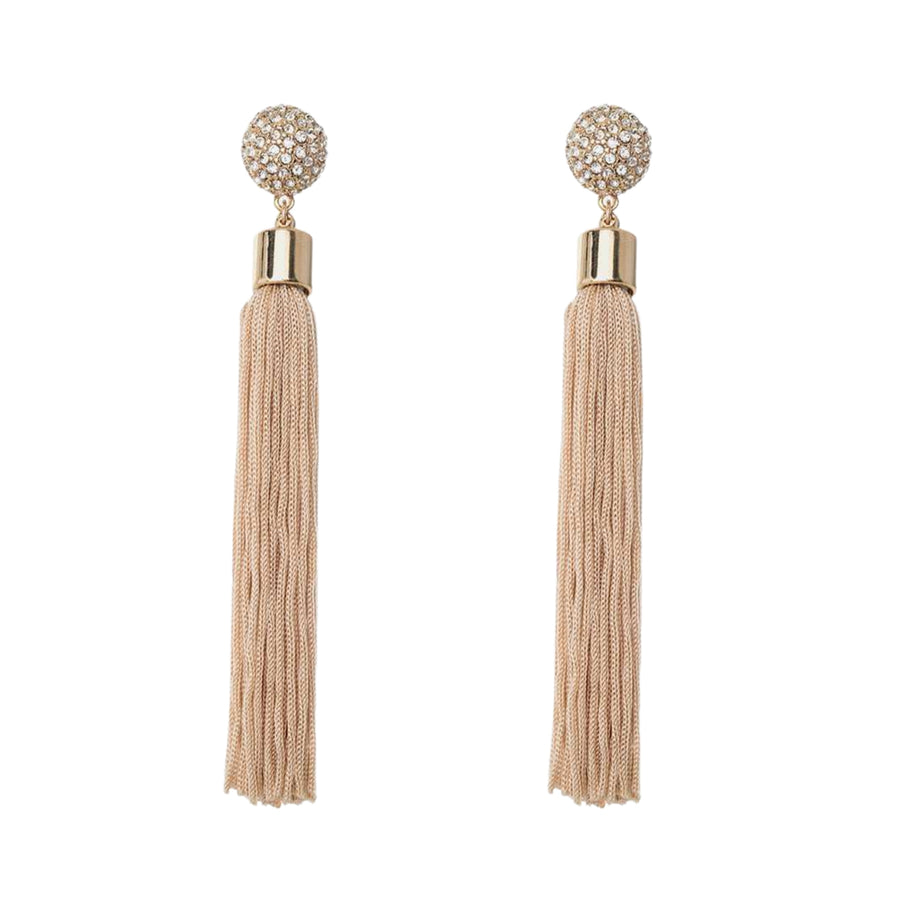 MIzDragonfly Jewelry Meteor Rhinestone Cream Tassel Stud Earrings