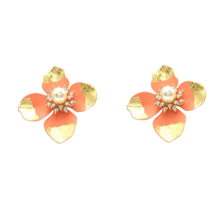Cosmos Flower Pearl Rhinestone Gold Leaf Stud Earrings - Orange