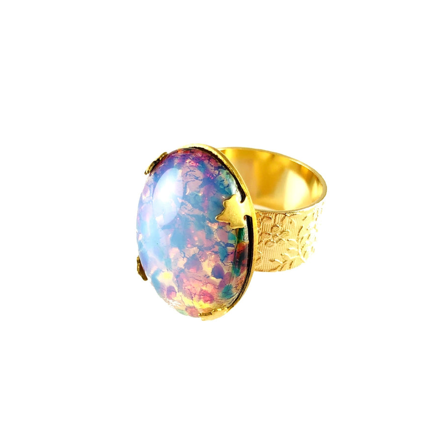 MizDragonfly Jewelry Oval Opal Floral Ring Side