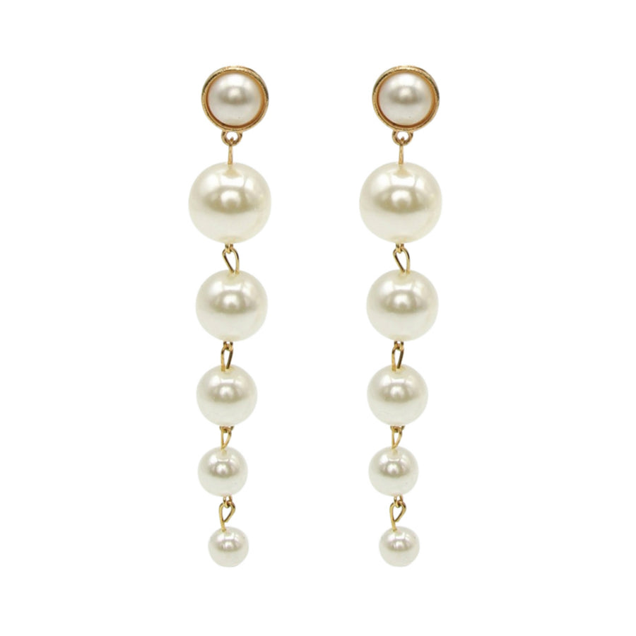 MizDragonfly Jewelry Pearl Komet Pearl Cluster Gold Drop Earrings Gallery
