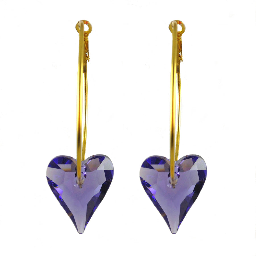 MizDragonfly Jewelry Purple Swarovski Crystal Heart Gold Hoop Earrings